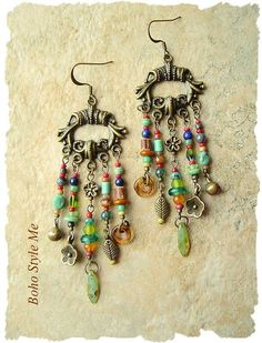 Boho Gypsy Assemblage Earrings Colorful Bohemian Jewelry