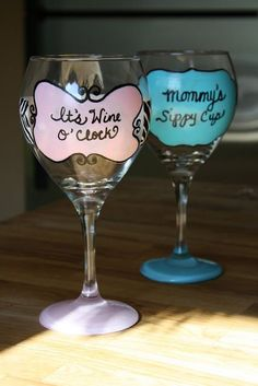 @Dana DelGrosso diy painted wine glass one for you one for me. Perfect!