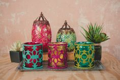 """Love these candle holders from Earthbound Trading Co. I want a couple hanging in my living room! Boho Votive Holders, 4"""""""
