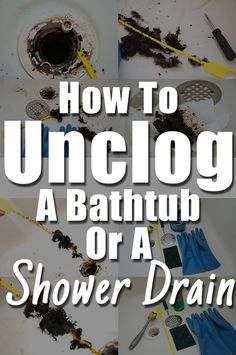 Easy and cost effective steps on how to unclog a bathtub or shower drain from hair. Anybody can handle a clogged drainage. Unclog Shower Drains, Clean Shower Drain, Unclog Bathtub Drain, Unclog Sink, Bathroom Drain, Clean Bathtub, Diy Bathtub, Bathing