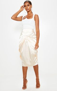 The Champagne Satin Front Drape Detail Midi Skirt . Head online and shop this season's range of skirts at PrettyLittleThing. Metallic Dress, Summer Skirts, Cute Skirts, Satin Fabric, Outfit Of The Day, Midi Skirt, Cute Outfits, White Dress, How To Wear