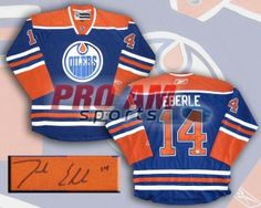 Jordan Eberle - Edmonton Oilers Signed RBK Replica Jersey - Edmonton Oilers -  To order or for more information or pricing please contact info@roadgearsports.com Edmonton Oilers, Jordans, Signs, Sports, Hs Sports, Shop Signs, Sport, Sign, Signage