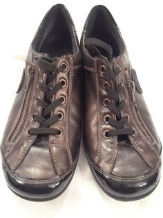 251c86b9730b6e WOMENS REIKER REMONTE BROWN METALLIC LEATHER LACE UP SHOES FLATS SNEAKERS  SIZE 7  fashion  clothing  shoes  accessories  womensshoes  comfortshoes  (ebay ...