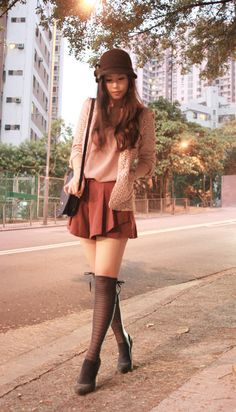 Knee high socks are perfection. Lovely colors in the outfit.