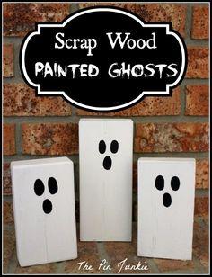 The Pin Junkie: Halloween Scrap Wood Painted Ghosts