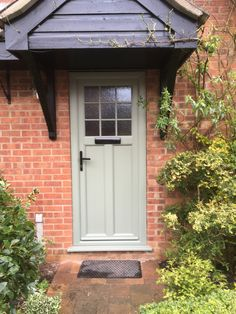 A selection of Suffolk Doors with different colour styles, different styles from Lavenham to Ixworth and different Handles and door knobs. Front Door Entrance, Entry Doors, Door Overhang, Painted Front Doors, Cottage Farmhouse, House Windows, Amazing Spaces, House Front, Kitchen Dining