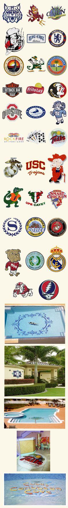 custom pool mosaics, sports logos