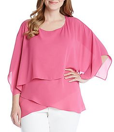Karen Kane Plus Silky Crepe Layered Crossover Top #Dillards