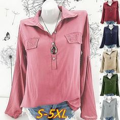 9fbf36b43a1 Women Long Sleeve Rhinestone Pocket Blouse Loose Top Collar V Neck OL Work  Shirt