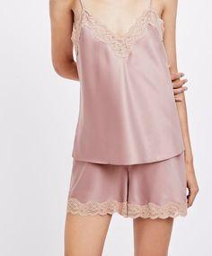 Plain satin shorts - New In - Pyjamas and homewear Satin Shorts, Satin Top, Lingerie, American, Lace Trim, Beachwear, Sportswear, Swimsuits, Tank Tops