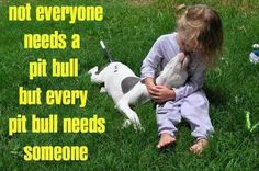 Every Pit Bull needs someone.  And really, doesn't ever kid need a pit bull?  I know, there are other breeds of dogs that adopt kids in a similar way..  but I can say it anyway, right?