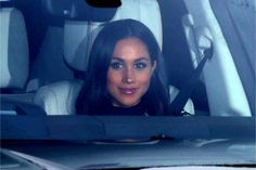20 December 2017 - Meghan Markle on her way with Prince Harry to the Queen's Christmas Lunch
