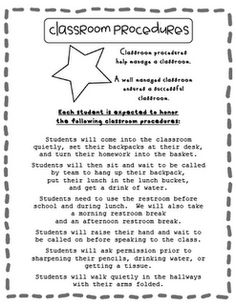 "classroom procedures letter download    *** This would be a great letter to include in the information given out at ""Open House"". It would allow the parents to know what is to be expected in the classroom.***"