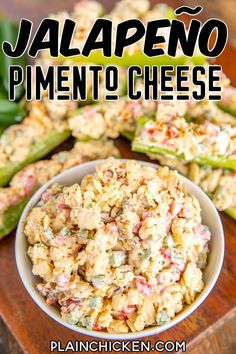 Jalapeño Pimento Cheese - a quick and easy low-carb snack! Serve in a bowl with crackers and vegetables, on toasted bread, or stuffed into celery. This is a favorite at our house! White cheddar cheese, pimentos, jalapeños, pecans, mayonnaise, hot sauce, onion, and Worcestershire sauce. Can make in advance and refrigerate until ready to serve. #lowcarb #keto #snack #pimentocheese Appetizer Dips, Yummy Appetizers, Appetizer Recipes, Dinner Recipes, Cheddar Cheese, Pimiento Cheese, Plain Chicken Recipe, Chicken Recipes, Cheddar