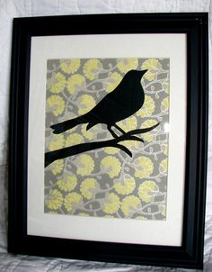Framed Silhouette Bird Art grey and yellow in by ThreeFatBirdies, $20.00