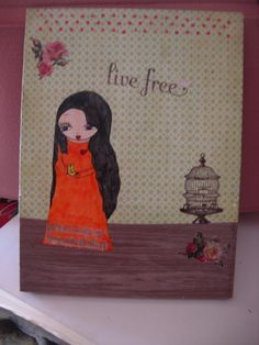 Live Free  Original mixed media painting and collage on by eltsamp, $47.00