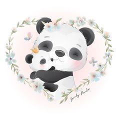 Floral Illustrations, Cute Illustration, Watercolor Illustration, Lama Animal, Watercolor Flower Background, Floral Watercolor, Doodles Bonitos, Cute Panda, Happy Panda