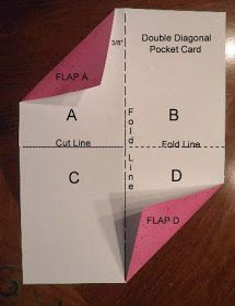 card making photo tutorial from the Black Hole Art Studio: Double Diagonal Pocket Card . So glad you stopped by today. As you may already know, I am so pleased to tell you that I get to work with the wonderful t.Make a card with pockets for goodies o Card Making Templates, Card Making Tips, Card Making Tutorials, Card Making Techniques, Fancy Fold Cards, Folded Cards, Karten Diy, Shaped Cards, Pocket Cards