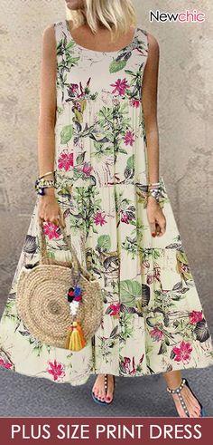 Summer Dress Women Plus Size Bohe O-Neck Floral Print Vintage Sleeveless Long Maxi Dress New Casual Ankle-Length Dress Vintage Style Dresses, Casual Dresses, Maxi Dresses, Sleeveless Dresses, Robes Midi, Vestidos Vintage, Mode Outfits, Summer Dresses For Women, Swing Dress