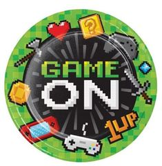 "Get your game on with these super charged gamer plates! Great for a video game theme birthday. Any gamer will love these""Game On"" party plates. Add these plates to your video game theme party decor and it will sure make your party pop. Party Plates, Party Tableware, Dinner Plates, Minecraft, Birthday Banner Design, Princess Party Games, Engagement Party Games, Accessoires Photo, Video Game Party"