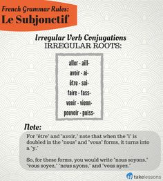 French Grammar Rules: Irregular Verb Conjugations in Le Subjonctif http://takelessons.com/blog/french-grammar-subjunctive-mood-z04?utm_source=social&utm_medium=blog&utm_campaign=pinterest