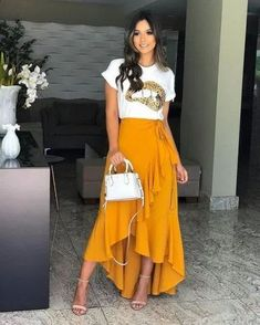 trendy mullet o comprimento que Cute Casual Outfits, Casual Chic, Casual Dresses, Casual Look, Mode Outfits, Girl Outfits, Modest Fashion, Fashion Dresses, Skirt Outfits