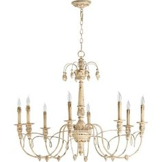 Bouverie French White Eight-Light Chandelier