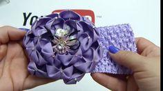 Flor grande petalo facil liston, Como hacer una flor grande de liston gros
