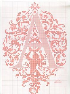 "cross stitch alphabet in 2 colors- very ornate monogram 26 single letters -- ""A'"" #1"