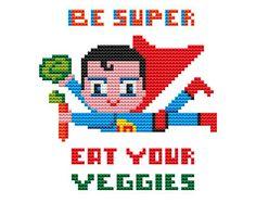 SUPERMAN VEGGIES Cross stitch Pattern PDF   Boy Girl di POWSTITCH