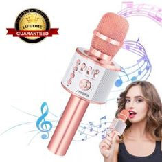 Ankuka Bluetooth Karaoke Microphone, 3 in 1 Multi-Function Handheld Wireless Karaoke Machine for Kids, Portable Mic Speaker Home, Party Singing Compatible with iPhone/Android/PC (Rose Gold) 12 Year Old Boy, Android Pc, Ball Lights, Karaoke, Boy Or Girl, Bluetooth, Instruments, Kids, Top