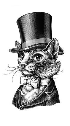 Thomas Catsworth by David Lawrence - bildermischung - Victorian Illustration, Engraving Illustration, Engraving Art, Cat Drawing, Drawing Sketches, Drawings, Gravure Illustration, Illustration Art, London Illustration