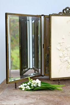 Vintage Three Way Mirror Beveled By Vintagewall On Etsy, $78.00