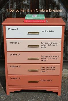 DIY Furniture : DIY Paint an Ombre Dresser-This could be used in different colors on lots of different things.