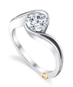 DIAMOND ENGAGEMENT RINGS - Mark Schneider Aerial Bypass Half Bezel Set Solitaire Diamond Engagement Ring