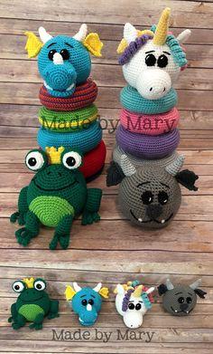 Fantasy Animals Crochet Stacker Toy feauting crochet dragon, crochet unicorn, crochet frog.  Affiliate Link #crochettoy #crochetamigurumi #crochetunicorn #crochefrog #crochetdragon #handmadetoy #stackertoy #crochetstackertoy