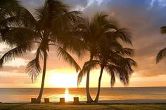 Sunset at Tortuga Bay Hotel in Punta Cana, Dominican Republic.