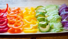 rainbow veggies...Great way to put out a dinner salad rainbow theme, fruit, dinner salads, color, food, veggie tray, snack, kid, parti