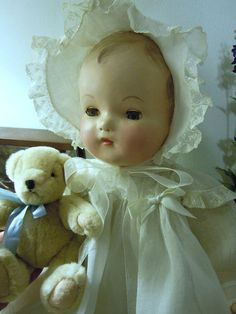 Vintage Madame Alexander Composition Baby Doll Original Hat and Dress 1930