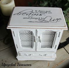 Pretty upcycled vintage jewelry box with a lovely Harry potter quote Homemade chalk paint used