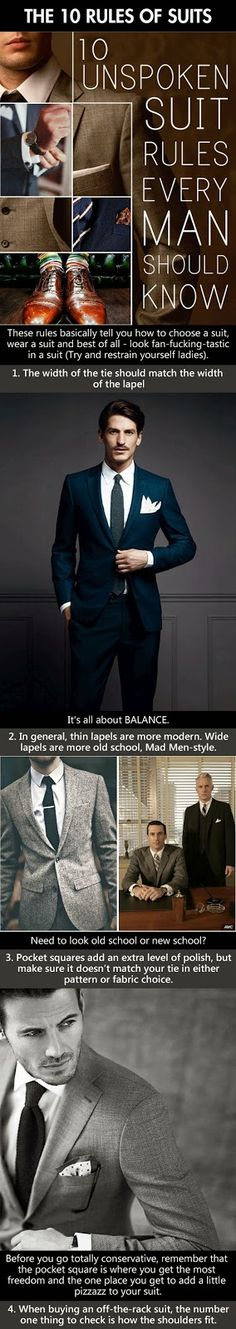 The 10 Rules of Suits. 10 Unspoken Suit Rules every man should know. The 10 Rules of Suits. 10 Unspoken Suit Rules every man should know. Foto Fashion, Fashion Mode, Suit Fashion, Mens Fashion, Style Fashion, Fashion Menswear, Fashion 2016, Gq Style, Looks Style