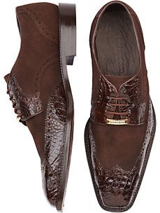 ‼️Belvedere Pergola Brown Croc Suede Lace-Up Shoes