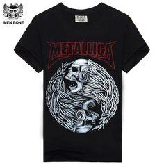 [Mne hueso] camiseta de los hombres negro camiseta 100% algodón metallica impresión del cráneo de metales pesados del rock hip hop clothing negro camisetas cortas