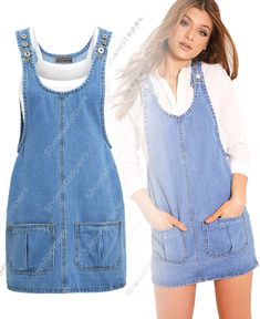 2019 New Fashion Loose Denim Dresses With Holes Jeans Suspenders One Piece All-m in 2020 (With images) Denim Pinafore, Pinafore Dress, Diy Cut Shirts, Denim Fashion, Fashion Outfits, Mode Jeans, Denim Overall Dress, Romper With Skirt, Dress Sewing Patterns