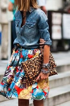 """Mix print love - Street style. Nearly 1/4 of female millennials are """"trendsetters,"""" willing to pay a higher price to be the first to have a new product, compared to 15% of all female social media users."""