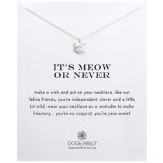 Dogeared Reminders Meow or Never Sterling  Pendant Necklace ($48) ❤ liked on Polyvore featuring jewelry, necklaces, silver, polish jewelry, dogeared jewelry, pendants & necklaces, dogeared necklace and pendant jewelry