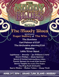 ☮ American Hippie Classic Rock Music Concert Poster ~ The Moody Blues Announce Lineup for Fan Cruise