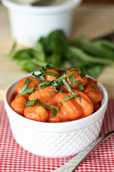 This #Gnocchi in Tomato Cream Sauce is savory and hits the spot.