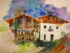 Südtirol 56x76cm Aquarell#aquarell#wasserfarben#landscape#landschaft#wegerart#bernhardweger#tirol Painting, Art, Watercolors, Watercolor, Landscape, Pictures, Art Background, Painting Art, Kunst