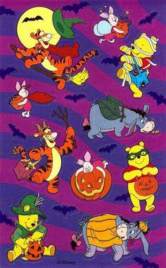 Winnie The Pooh Halloween, Bear Halloween, Vintage Winnie The Pooh, Winnie The Pooh Friends, Halloween Cartoons, Halloween Stickers, Disney Halloween, Vintage Disney, Vintage Halloween